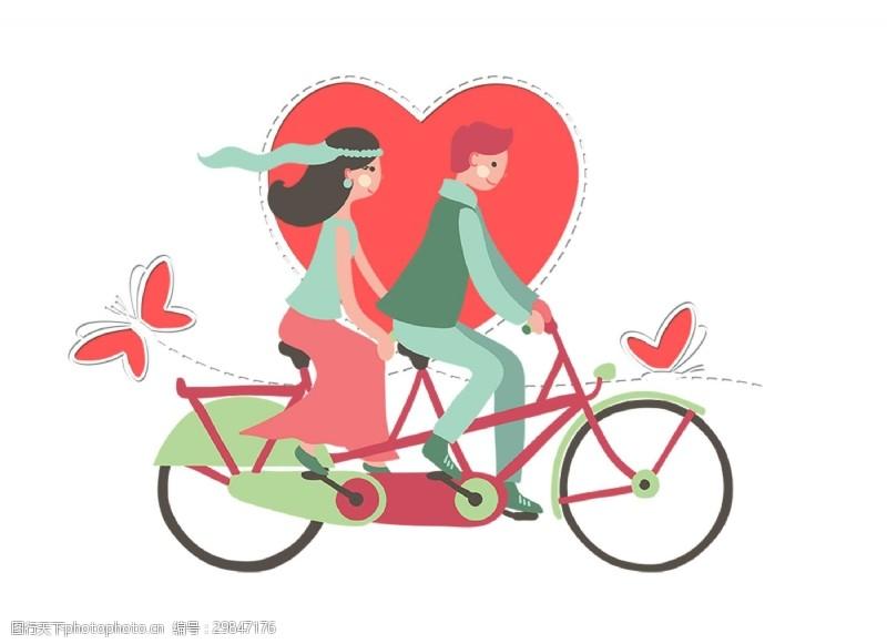 溫馨情侶騎自行車png元素