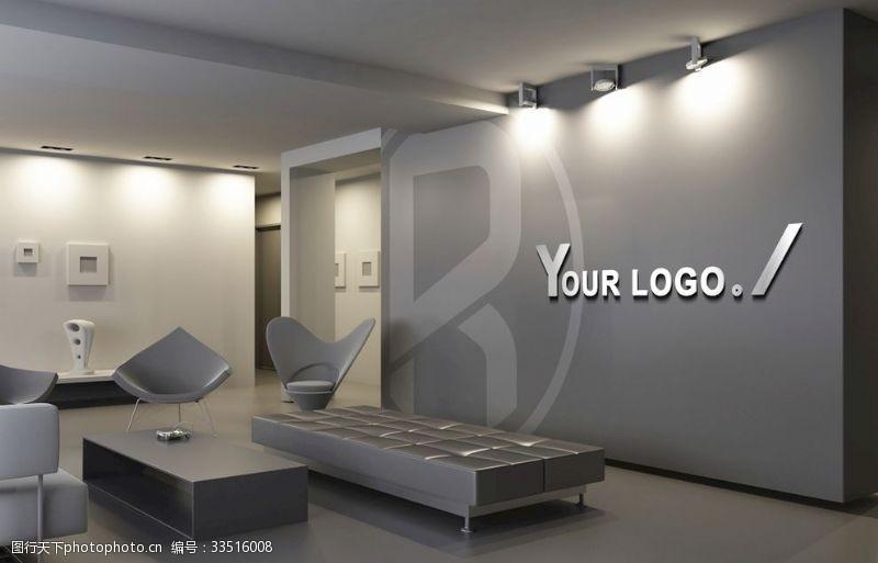 模板LOGO形象墻辦公室場景貼圖樣