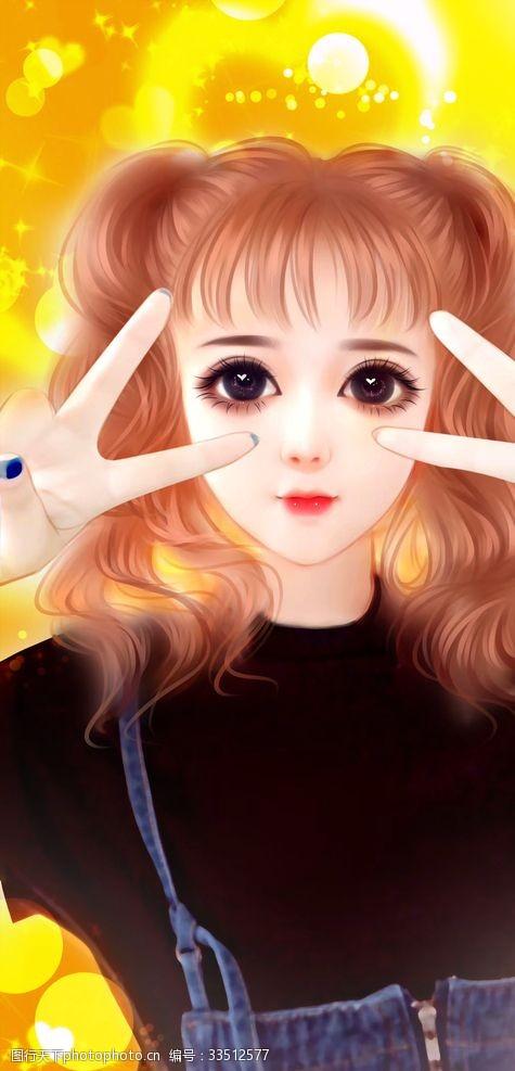 动漫动画娃娃风动漫CG性感美女手绘插画