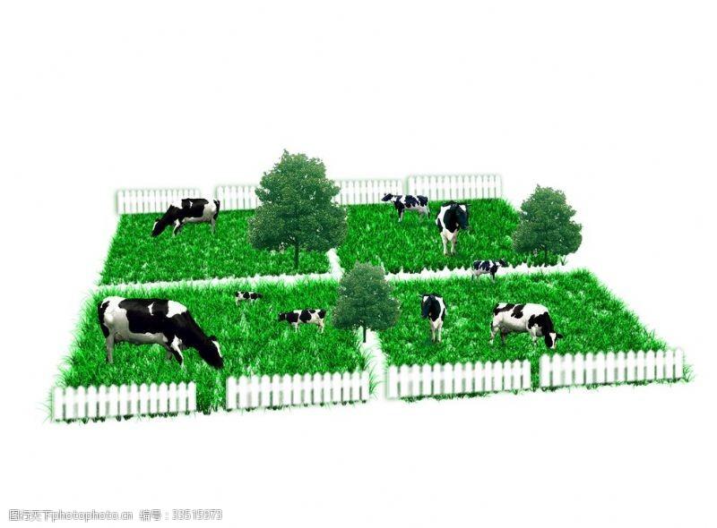 草皮奶牛装饰绿色栅栏
