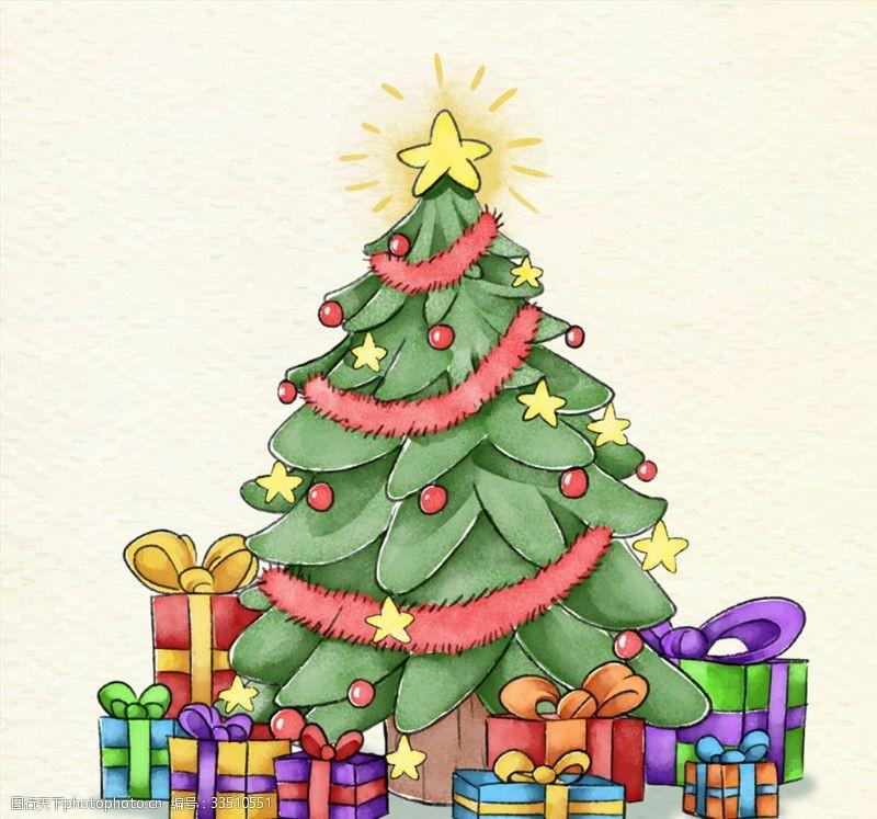 禮物彩繪圣誕樹和禮盒
