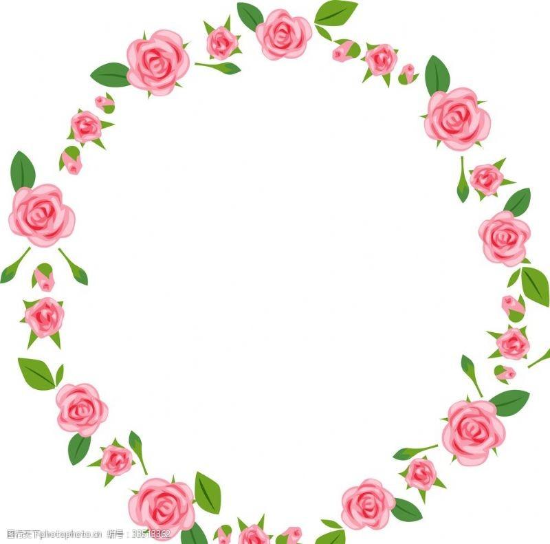 圆型粉色玫瑰花环