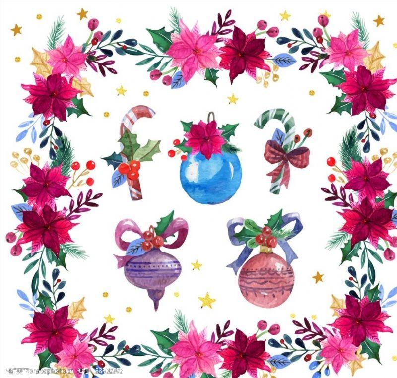 水彩绘圣诞花环和5款装饰物