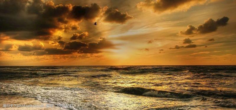 丹麥北海日落海岸唯美風光