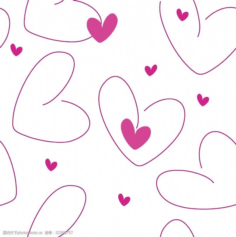 情人节心形粉色背景四方连续