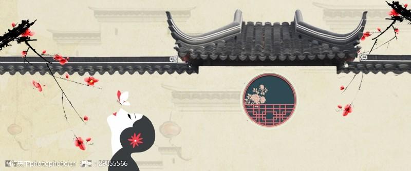 古典中國風七夕海報背景