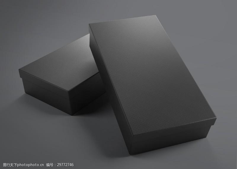 立體黑色包裝盒子模型包裝貼圖樣機展示素材