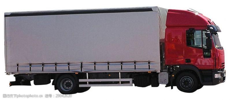 货车模板红色厢式载重货车免抠png透明图层素材