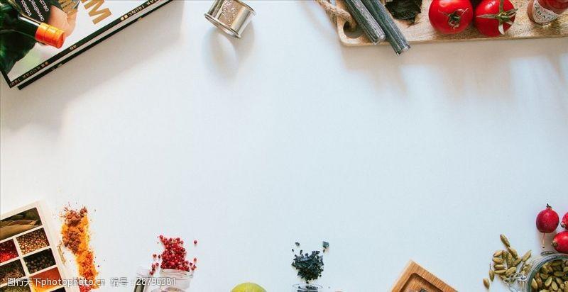 视觉效果设计厨房背景俯视图