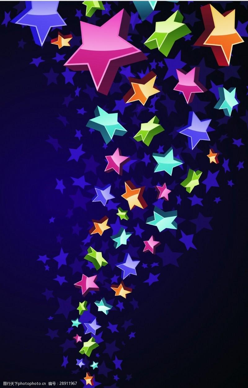 紫色背景上的炫彩五角星背景素材