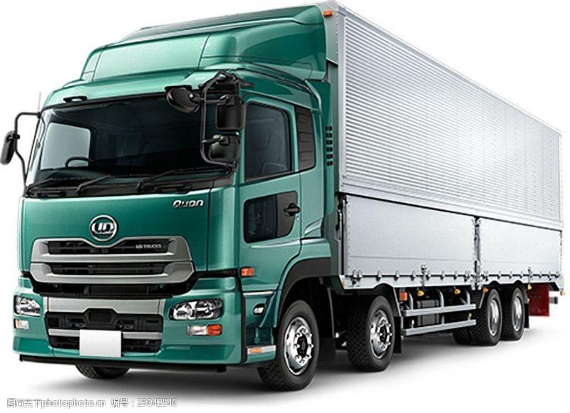 货车模板绿色载重大卡车免抠png透明图层素材
