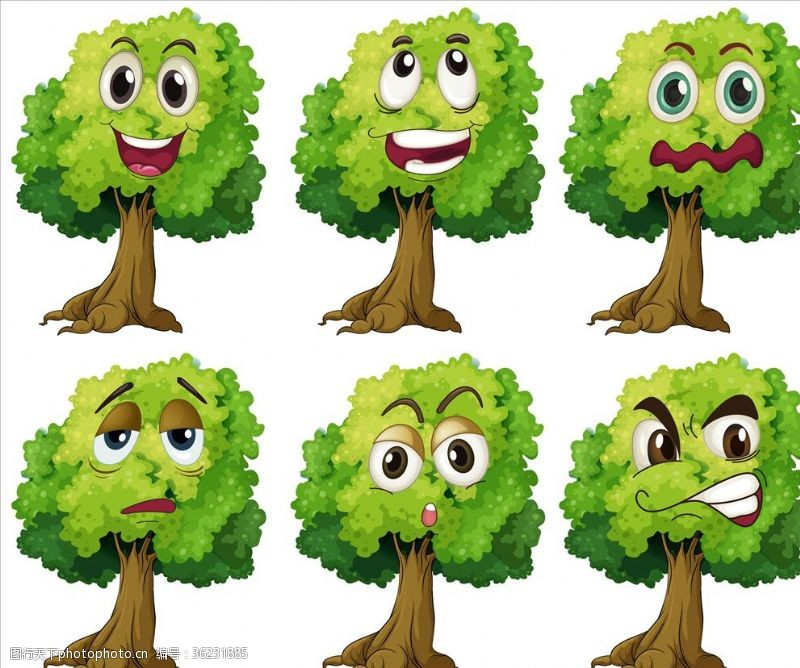 卡通树表情树的表情