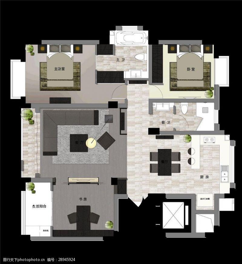 室内场景模型中式室内3D模型效果图