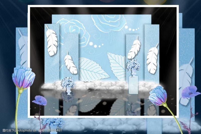 花纹效果蓝色婚礼效果效果图