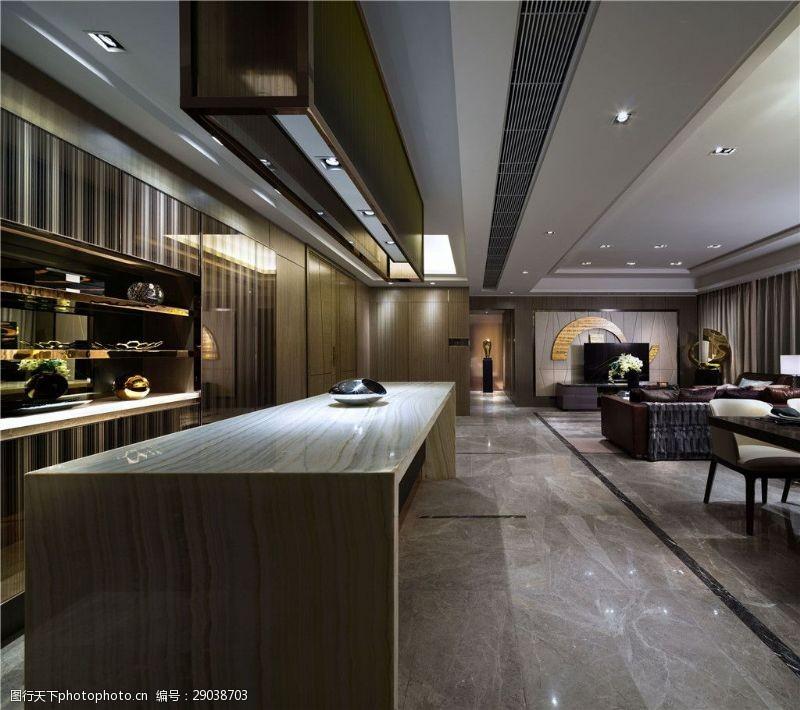 现代时尚大户型都市风客厅大理石地板室内图