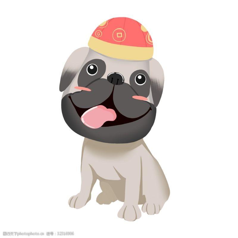 卡通斗牛犬新年祝福宠物狗
