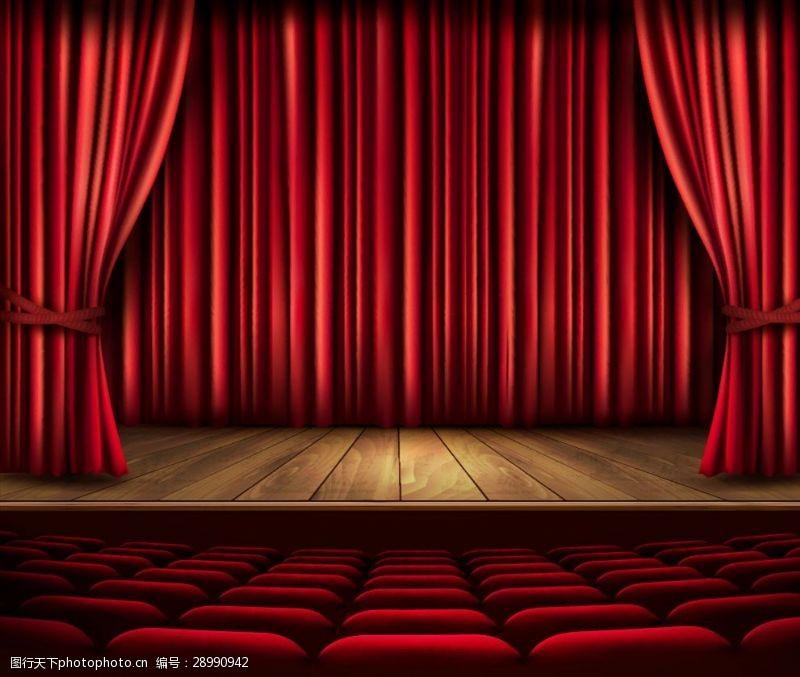 胶片背景红色舞台剧场矢量素材