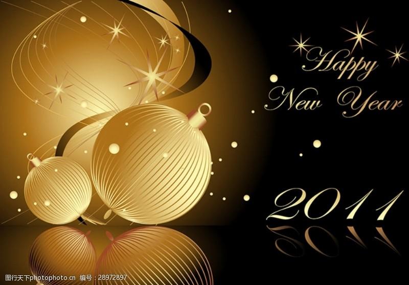 2011新年炫酷金色灯笼矢量背景