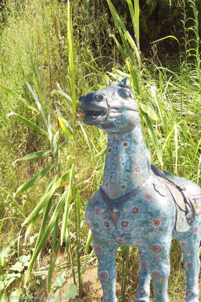 彩釉马形雕塑