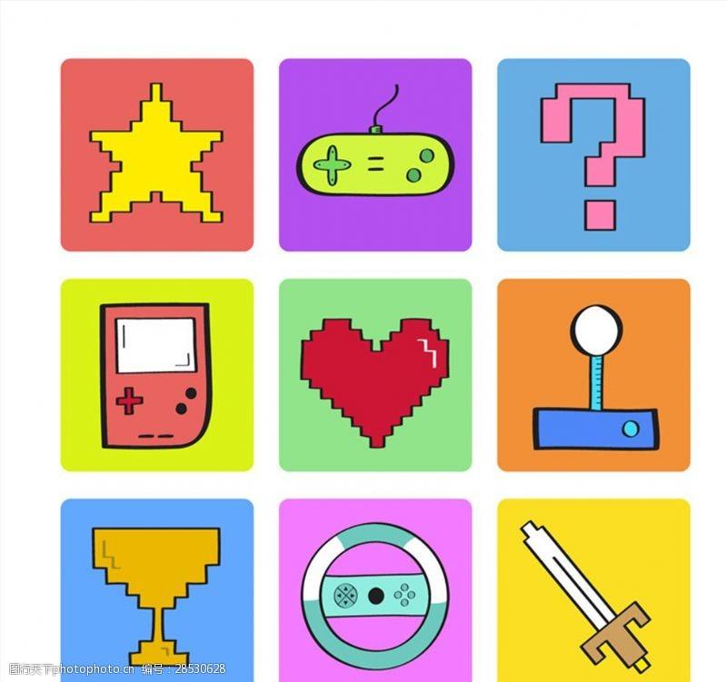 9款创意数码游戏元素矢量图
