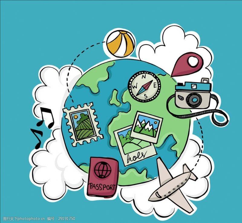 彩绘地球环球旅行元素矢量素材
