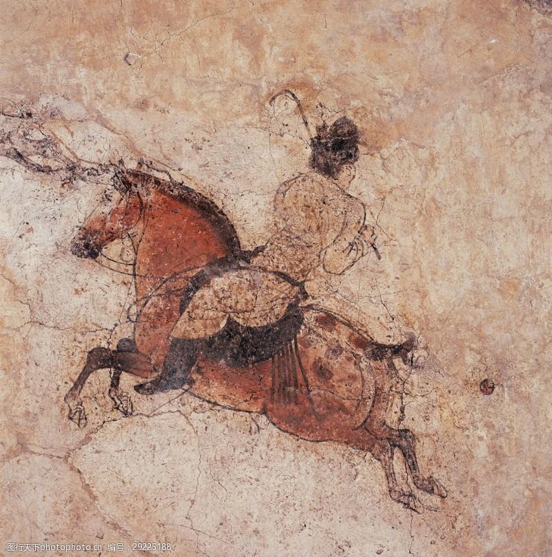 马球永泰公主陵墓壁画仕女图古