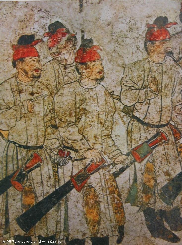 马球章怀太子墓陵墓壁画仕女图