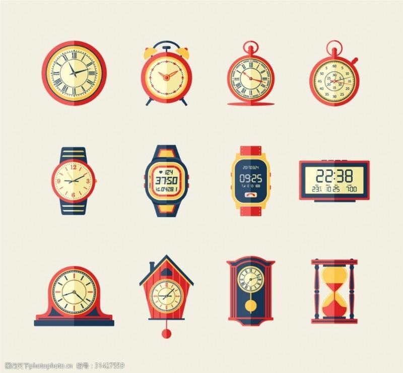 电子钟复古手表时钟模型图标icon