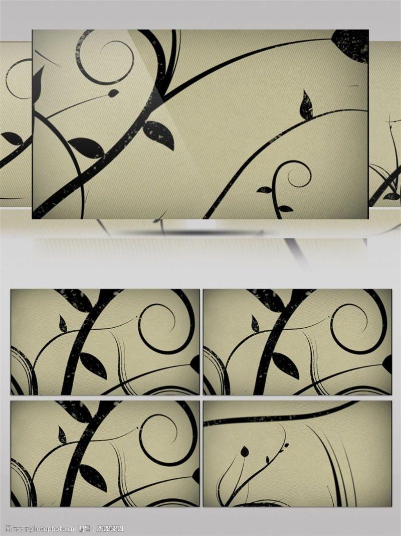 黃色宣紙水墨中國畫高清視頻素材