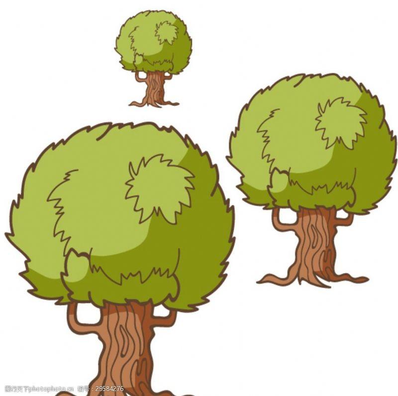卡通树表情树林