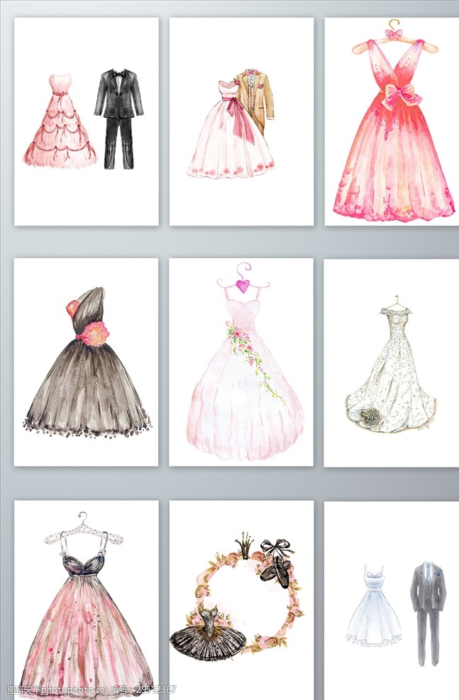 结婚婚纱礼服免抠手绘宴会婚礼礼服矢量素材