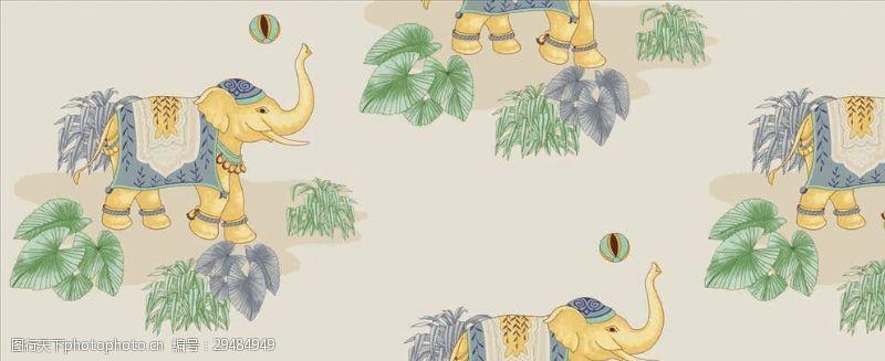 矢量图案共享大象