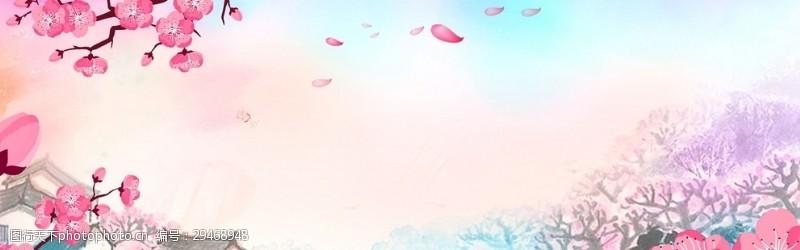 粉系樱花广告背景图案梦幻展板背