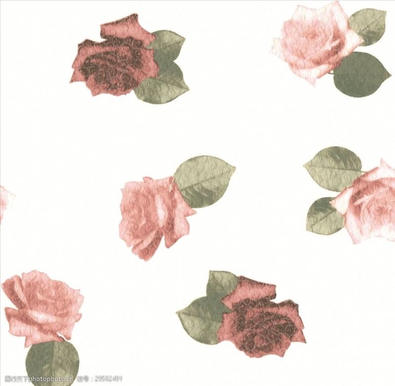 矢量图案共享女装花卉花型白底红花
