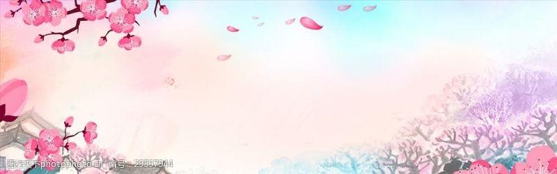 粉系樱花广告背景图案梦幻飘花