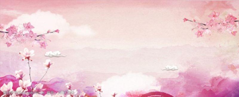 粉系樱花广告背景图案梦幻彩云
