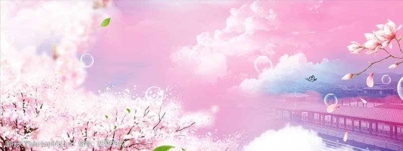 粉系樱花广告背景图案梦幻泡泡