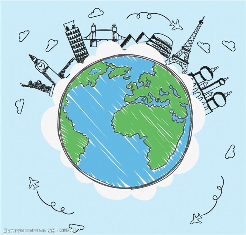 彩绘地球与著名景点矢量素材