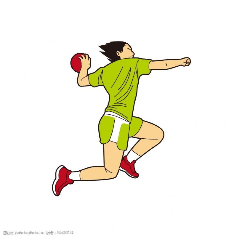红球卡通打球姿势矢量素材
