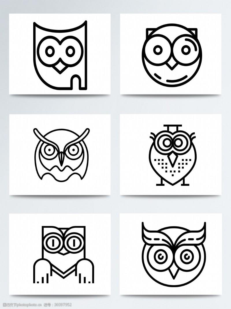 可爱形状猫头鹰图标装饰合集