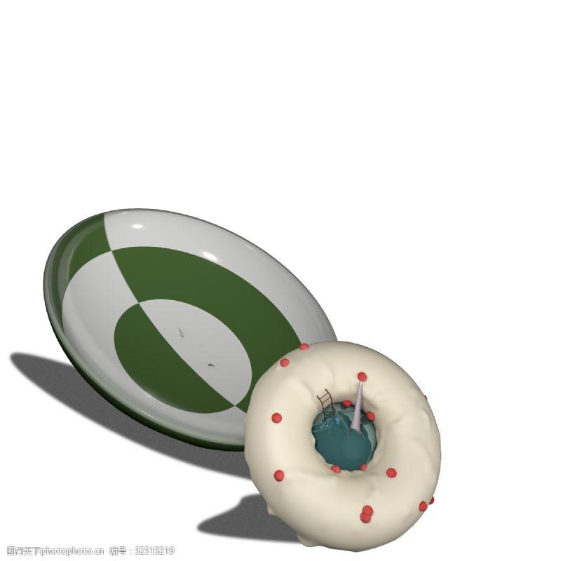 卡通梯子带游泳池的甜甜圈创意c4d卡通建模