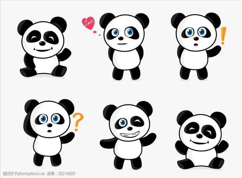 绘画卡通熊猫熊猫