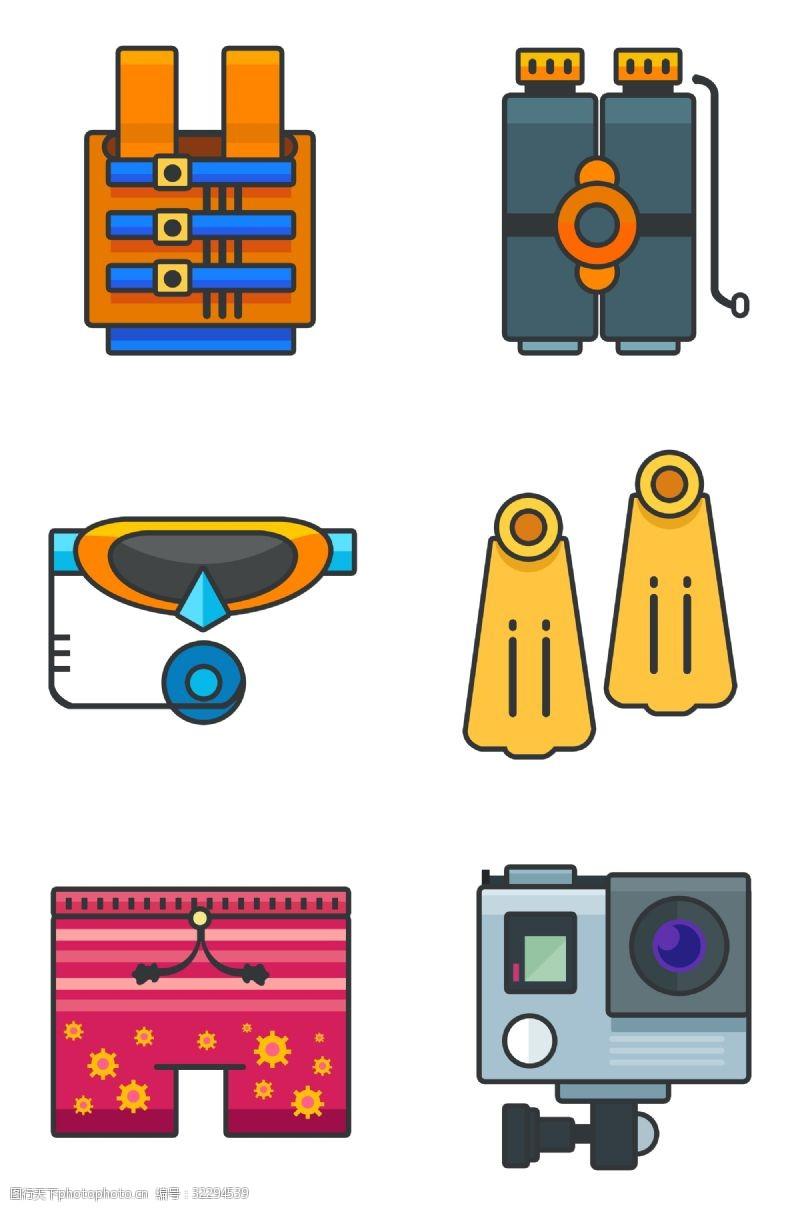 gopro潜水游泳海滩沙滩用品免扣图标插画