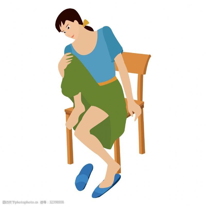 坐在椅子上休息的女人矢量图