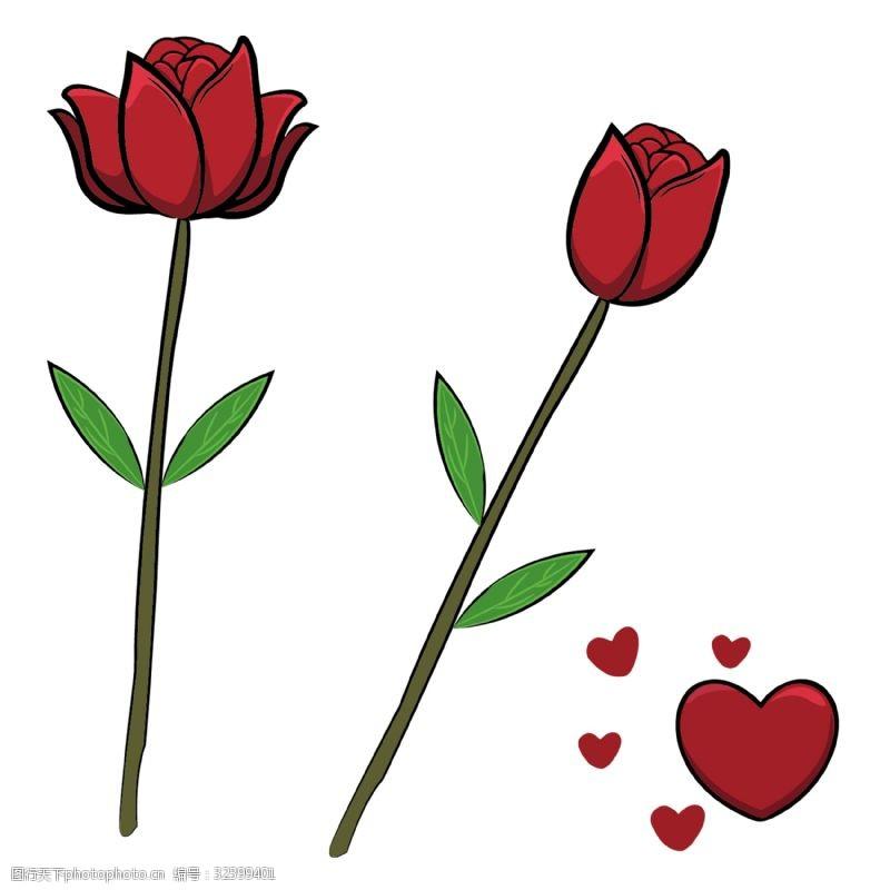 卡通玫瑰花手绘卡通浪漫玫瑰花下载