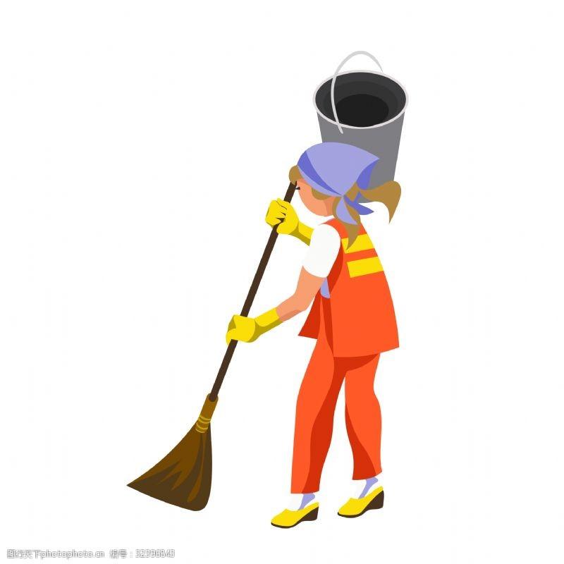 清洁城市清洁的工人矢量素材