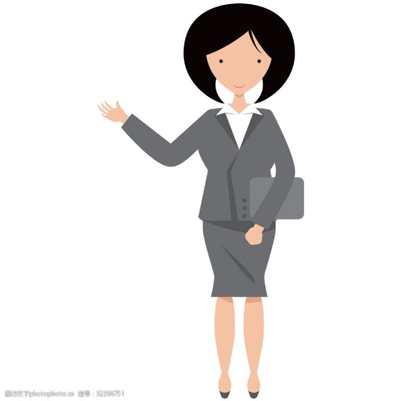 抬手卡通矢量商务正在演讲讲课的女人