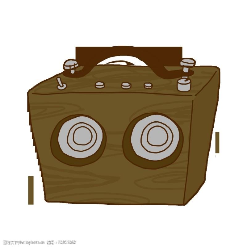 卡通音箱卡通手绘木质音响元素下载