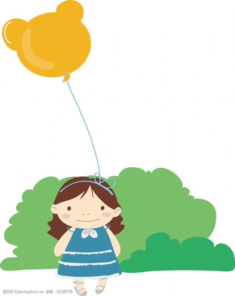 幼儿园节日儿童节手绘小女孩