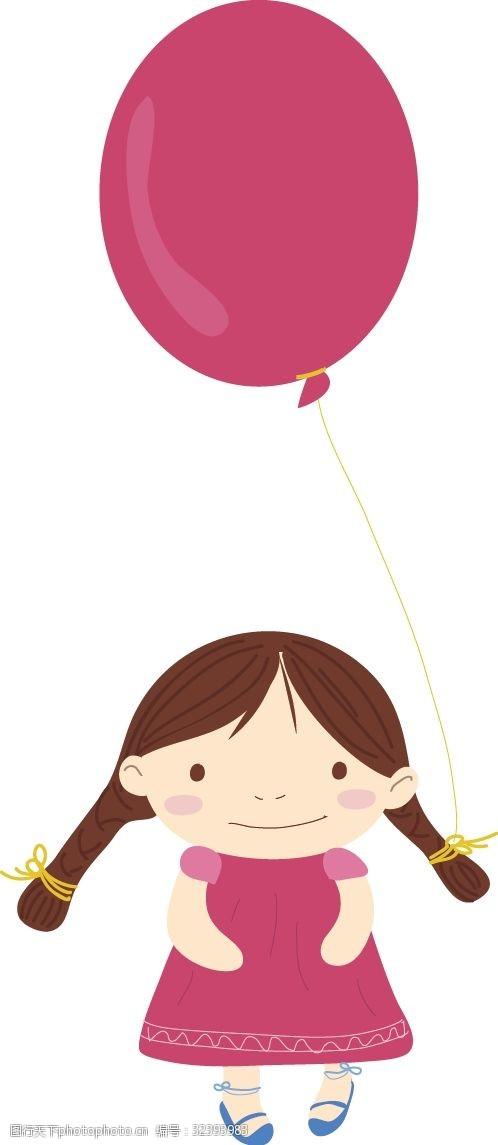 幼儿园节日儿童节手绘小女孩和气球
